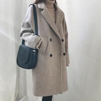 韩版2018大码反季修身中长款毛呢外套双排扣加棉呢大衣显瘦学生女