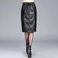 2017秋冬新款PU皮裙子女中长半身裙包臀裙高腰大码显瘦A字一步裙