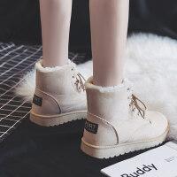 冬季新款短筒雪地短靴韩版马丁靴女鞋加绒百搭网红学生棉鞋潮