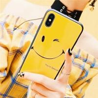 微笑苹果6s手机壳钢化玻璃套iPhone7 plus全包防摔8p/X可爱笑脸
