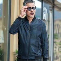2018新款春秋季中年男士夹克外套中老年人40岁50薄款中年爸爸春装 藏蓝色