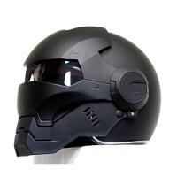 个性摩托车头盔男女610钢铁侠复古高端全盔越野机车哑黑 黑色