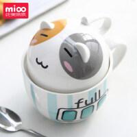 情侣牛奶创意杯子 个性陶瓷马克杯带盖勺水杯潮流可爱办公室大容量