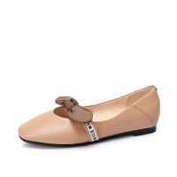 camel骆驼女鞋 新款真皮鞋子女复古百搭圆头低跟乖乖鞋平底单鞋女