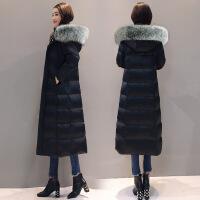 黑色长款羽绒服女长过膝2018韩版新款修身白鸭绒中长款超长加厚潮