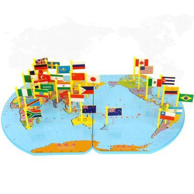 世界地图插儿童认识木质拼图智力开发3岁幼儿园玩具4-6岁 抖音