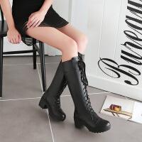 彼艾2018马丁靴女靴子中筒靴粗跟秋冬款真皮中跟军靴英伦风2018高跟长靴女