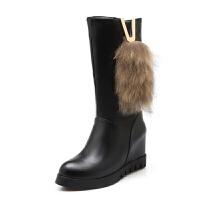 内增高女靴2018新款秋冬季靴子骑士靴女短靴中筒靴高跟女鞋雪地靴真皮