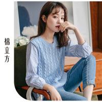 条纹打底衫女长袖2019春季新款棉立方韩版时尚拼接假两件圆领上衣