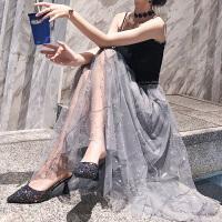 谜秀半身裙女夏2018新款韩版超仙仙女裙网纱刺绣中长款裙子夏装潮
