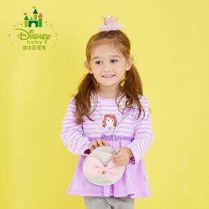 迪士尼Disney童装女童长袖圆领T恤纯棉打底衫新款秋装宝宝上衣173S964