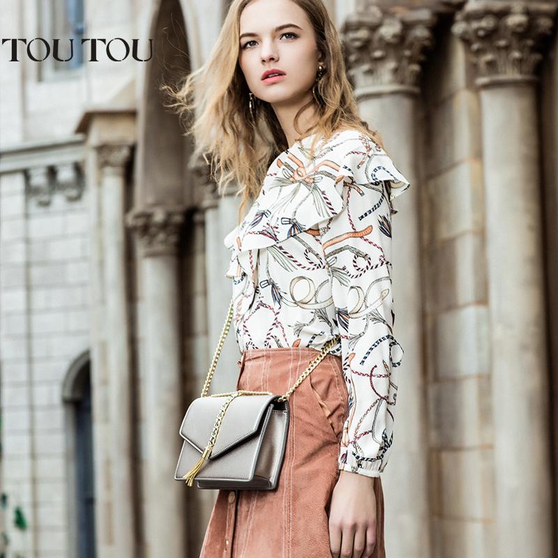 TOUTOU2017夏天新款流苏链条包时尚迷你小方包单肩包斜挎小包包潮金属链条流苏 怎么搭都很美