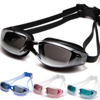 电镀平光泳镜 大框防进水防雾 游泳眼镜 男 女 近视镜