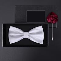 正装婚礼礼服英伦韩版蝴蝶结伴郎领结礼盒装男士白色小格领结套装
