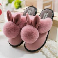 棉拖鞋女冬季室内家居防滑牛筋厚底情侣可爱居家用加绒保暖毛拖鞋