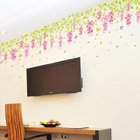 紫藤花餐厅客厅电视背景墙贴纸卧室墙顶墙角温馨浪漫墙壁贴画贴花 紫藤花1套1米长多套搭配更美观 大