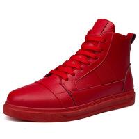 韩版真皮潮流高邦板鞋秋冬季男潮鞋子高帮鞋红色百搭休闲鞋男士皮鞋