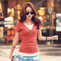 宽松短袖女士t恤韩版显瘦拼接假两件撞色小口袋式基础棉体恤