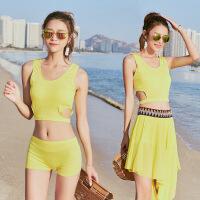 沙滩比基尼泳衣三件套分体女士性感平角显瘦韩版时尚温泉泳装批发