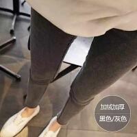 高腰烟灰色时尚紧身牛仔裤女冬小脚裤毛边显瘦裤子