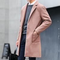 风衣男2018秋冬季新款男士中长款呢子大衣韩版修身型帅气毛呢外套