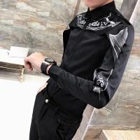 春季花色衬衫男长袖2018新款发型师衬衣夜店青年韩版修身潮流寸衫 黑色 307