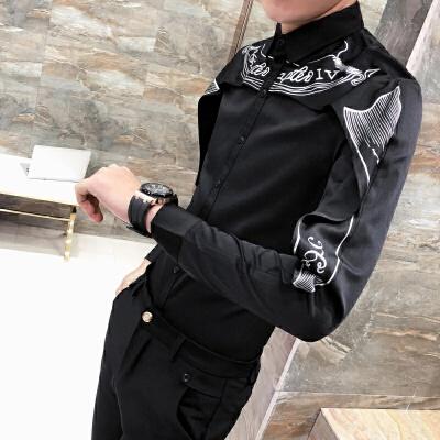 春季花色衬衫男长袖2018新款发型师衬衣夜店青年韩版修身潮流寸衫 黑色 307 发货周期:一般在付款后2-90天左右发货,具体发货时间请以与客服商的时间为准