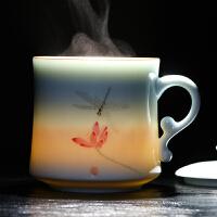 景德镇茶杯陶瓷带盖过滤泡茶杯办公室杯子青瓷家用马克杯6645 蜻蜓