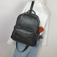 双肩包女韩版潮学院风简约学生书包女士包包pu皮大容量复古背包