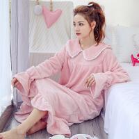 珊瑚绒睡衣少女秋冬季韩版睡袍学生长款加厚法兰绒睡裙家居服冬天