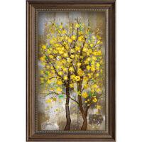 黄金树林现代美式玄关装饰画欧式竖幅风景油画抽象简约走道壁挂画 原版复制