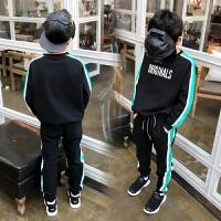 2018春装儿童时尚套装套头拼接圆领卫衣+休闲裤男童潮运动两件套