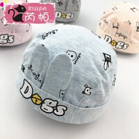 婴儿帽子春季海盗帽男童女童宝宝套头帽5-10个月遮阳帽潮 蓝色 h虫虫铃铛 均码