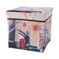 多功能橱柜衣物儿童玩具收纳箱整理盒时尚复古收纳凳可坐人储物凳 27L
