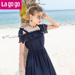 【清仓3折价179.7】Lagogo/拉谷谷2019年夏季新款时尚女神范吊带连衣裙HALL334H31