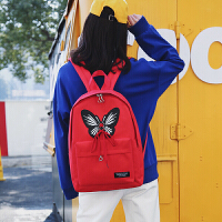 学院风双肩包女帆布街拍书包女韩版原宿ulzzang 高中学生校园背包