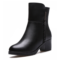 冬季牛皮中筒靴中高跟加绒加厚羊毛靴圆头妈妈棉鞋中老年女靴子真皮 黑色 6705拍大一码