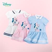 【3件3折到手价:57.9】迪士尼Disney童装女童短袖连衣裙运动风棒球裙2020年夏季新品女孩裙子米妮卡通印花