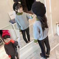 韩国童装冬款女童加绒卫衣撞色拼接T恤卫衣高领保暖上衣B7-S29