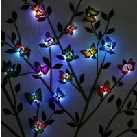 居家儿童房客卧室装饰创意自粘七彩LED夜光3d仿真立体蝴蝶墙贴纸 中