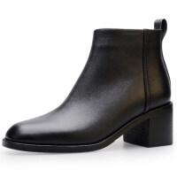 英伦短靴女冬秋2018新款及踝靴方头裸靴高跟鞋女靴粗跟真皮单靴子