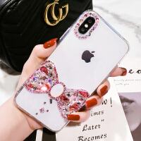 网红苹果8PLUS手机壳女蝴蝶水钻iphone7硅胶保护套6splus韩潮带钻