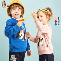 【2件5折:159元】暇步士童装冬季新款男女同款小童加绒卫衣时尚卡通加绒圆领套头卫衣儿童加绒卫衣(80-130)