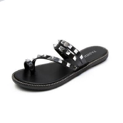 ELEISE美国艾蕾莎新品113-T1620休闲塑料平跟铆钉女士凉拖鞋