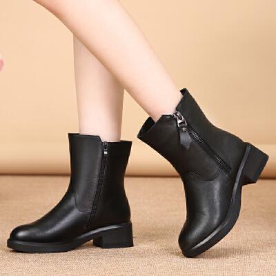 冬季女靴真皮羊毛靴中筒棉靴加绒加厚保暖妈妈鞋低跟防滑雪地靴女SN4077 黑色,建议大一码 5831牛皮羊毛
