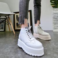 韩版冬新款漆皮布洛克系带厚底松糕坡跟短靴马丁靴机车靴加绒女鞋