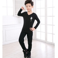 儿童舞蹈练功服男孩春秋舞蹈服女孩长袖形体服幼男童拉丁套装棉 黑色 长袖+长裤