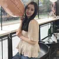 2018春装韩版chic气质显瘦雪纺泡泡荷叶边纯色衬衫长袖上衣女装潮