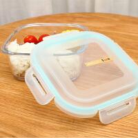 带分隔玻璃碗饭盒微波炉耐热分格便当盒保鲜盒大容量三格