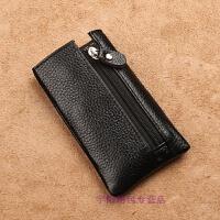 男士头层牛皮钥匙包卡包二合一多功能简约实用小包软皮迷你 荔枝纹黑色